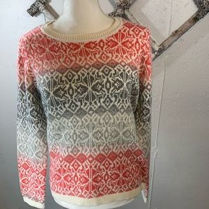 Talbots grey and coral design  sweater